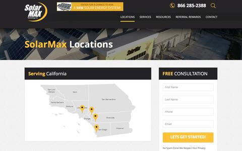 Screenshot of Locations Page solarmaxtech.com - Southern California Solar Power Systems for Home - captured Jan. 14, 2016