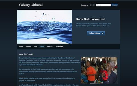 Screenshot of Contact Page calvarygithurai.org - Know God - Calvary Githurai - captured Oct. 1, 2014