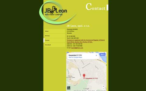 Screenshot of Contact Page jbleon.com - Contact - captured Sept. 30, 2014