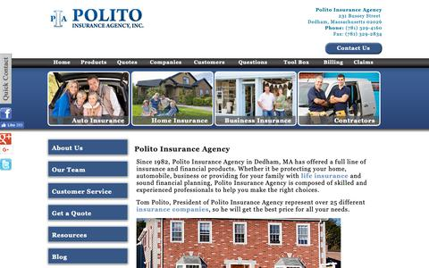 Screenshot of About Page politoinsurance.com - Polito Insurance Agency, a local independent insurance agency located in Dedham, Massachusetts - captured Sept. 28, 2018