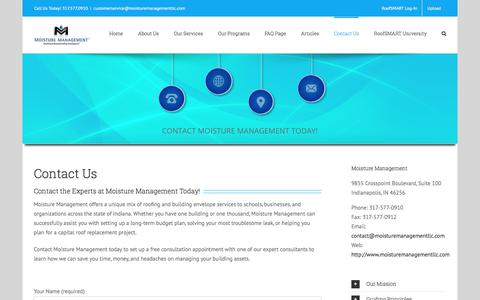 Screenshot of Contact Page moisturemanagementllc.com - Contact Us - Moisture Management - captured July 5, 2017