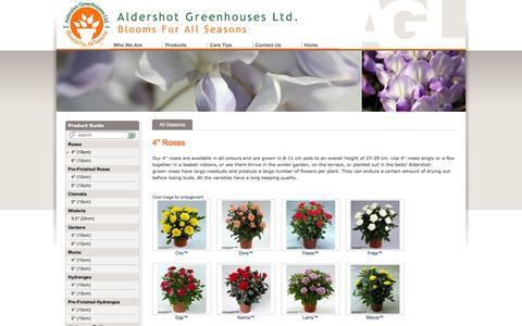 "Screenshot of Products Page aldershotgreenhouses.com - Aldershot Greenhouses Ltd - 4"" (10cm) - captured Feb. 5, 2016"