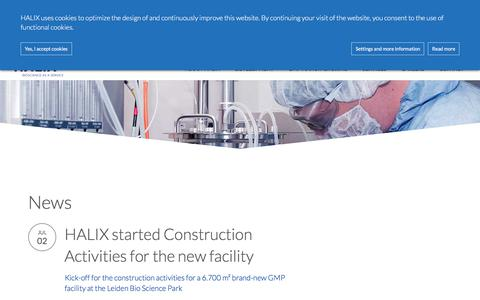 Screenshot of Press Page halix.nl - News and Events about HALIX contract manufacturing services - captured July 14, 2018