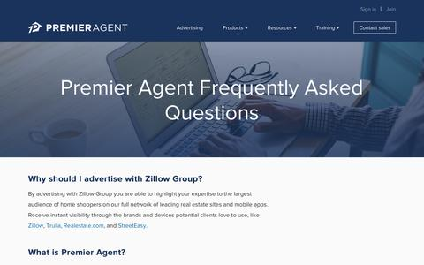 Screenshot of FAQ Page zillow.com - Frequently Asked Questions | Premier Agent - Zillow & Trulia - captured Oct. 21, 2018