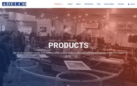 Screenshot of Products Page adelco.co.uk - Products | Adelco Screen Process Ltd - captured Nov. 6, 2018