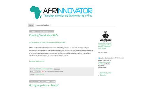 Screenshot of Home Page afrinnovator.com - Afrinnovator - Innovation, Entrepreneurship, Technology, Africa. - captured Sept. 30, 2014