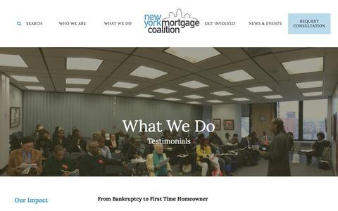 Screenshot of Testimonials Page nymc.org - New York Mortgage Coalition : What We Do : Testimonials - captured Feb. 16, 2016