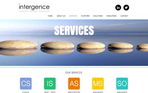 Screenshot of Services Page intergence.com - intergence | SERVICES - captured Nov. 26, 2016