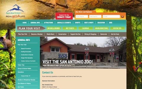 Screenshot of Contact Page sazoo-aq.org - San Antonio Zoo - Contact us - captured Sept. 23, 2014