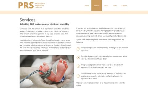 Screenshot of Services Page professionalregulatoryservices.com - Services - Professional Regulatory Services - captured Oct. 1, 2014