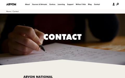 Screenshot of Contact Page arvon.org - Arvon | residential creative writing courses and retreats UK - captured Nov. 13, 2018