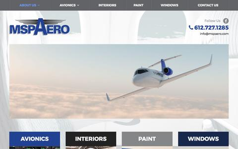 Screenshot of Home Page mspaero.com - Avionics Service | Minneapolis, MN – MSP Aero - captured May 10, 2017