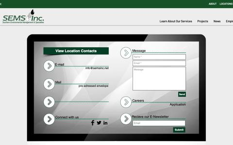 Screenshot of Contact Page semsinc.net - Sems, Inc. l Contact - captured Oct. 1, 2018