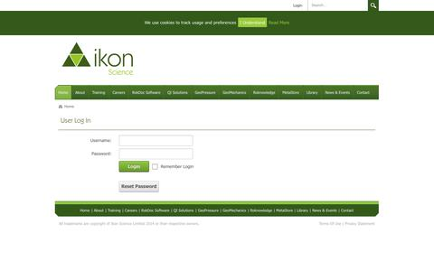 Screenshot of Login Page ikonscience.com - User Log In - captured Sept. 30, 2014