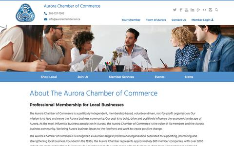 Screenshot of About Page aurorachamber.on.ca - About Us | Aurora Chamber of Commerce - captured Oct. 9, 2017