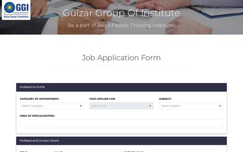 Screenshot of Jobs Page ggi.ac.in - Gulzar Group Of Colleges: Job Application Form - captured Sept. 22, 2018