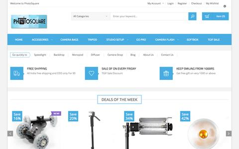 Screenshot of Home Page photosquare.in - Online Camera Accessory India Shop online Flash,Softbox,Camera Backpack,Studio Light Setup,Chroma Key Backdrop and more at photosquare.in - captured Sept. 19, 2014