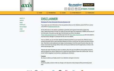 Screenshot of Terms Page axisautomatic.com - Axis Automatic Entrance Systems   Disclaimer - captured Oct. 4, 2018