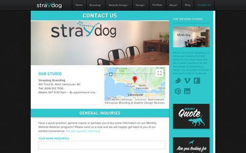 Screenshot of Contact Page straydogbranding.com - Straydog Branding Vancouver 604.913.7936 / Straydog™ / Branding, Web Design – Straydog Branding Vancouver - captured Sept. 21, 2018