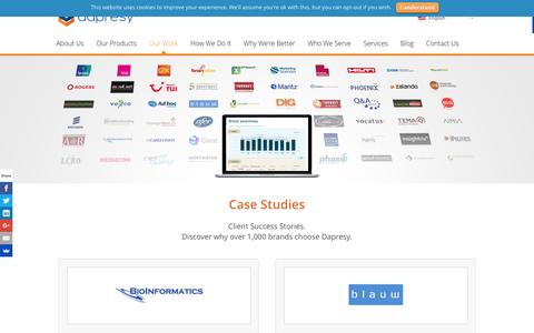 Screenshot of Case Studies Page dapresy.com - Case Studies - Market Research Tool - Dapresy - captured Feb. 8, 2016