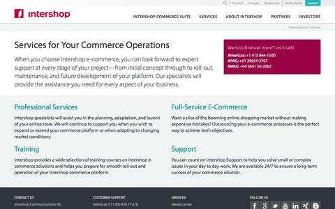 Screenshot of Services Page intershop.com - Intershop Services for Your Commerce Operations - Intershop Communications AG - captured Aug. 25, 2016