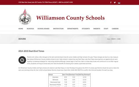 Screenshot of Hours Page wcs.edu - Williamson County Schools   –  HOURS - captured Sept. 24, 2014