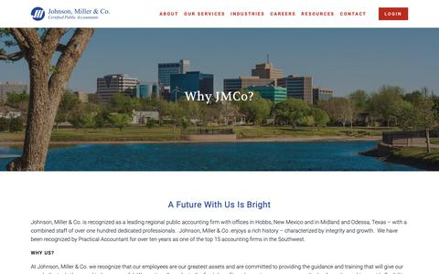 Screenshot of Jobs Page jmcpa.com - Why JMCo — Johnson, Miller & Co. - captured Oct. 14, 2018