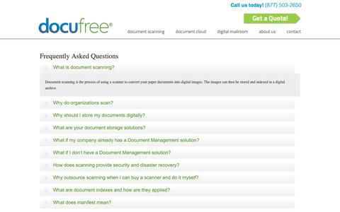Screenshot of FAQ Page docufree.com - Frequently Asked Questions « Docufree Document Scanning Services & Cloud Document Management Systems - captured Nov. 6, 2018