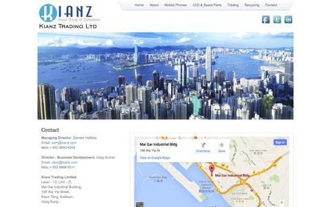 Screenshot of Contact Page kianz.com - Kianz Trading Limited - captured Oct. 6, 2014