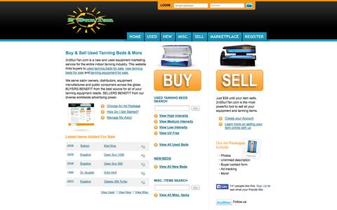 Screenshot of Home Page 2ndsuntan.com - Buy or Sell Used Tanning Beds & Equipment | 2nd Sun Tan - Tanning Beds for Sale - captured Sept. 30, 2014
