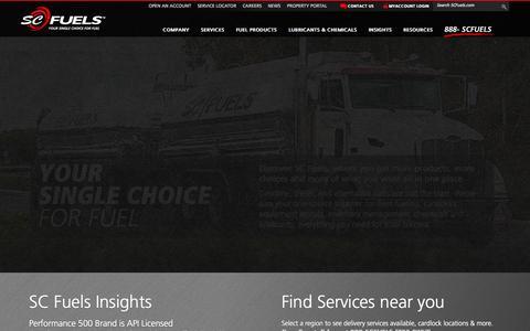 Screenshot of Home Page scfuels.com - Fuel Distribution & Service | SC Fuels - captured Sept. 30, 2014