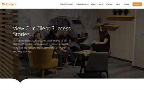 Screenshot of Case Studies Page outbrain.com - Outbrain for Advertisers- Case Studies | Outbrain.com - captured May 29, 2018