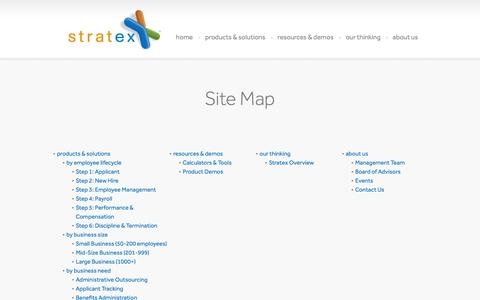 Screenshot of Site Map Page stratex.com - Site Map | Stratex Partners - captured Oct. 7, 2014