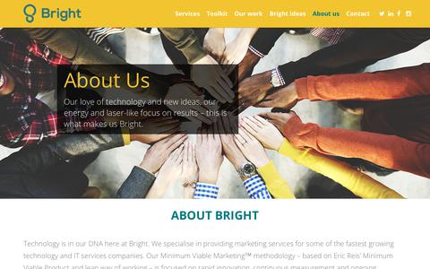 Screenshot of About Page brightinnovation.co.uk - Minimum viable marketing underpins our work at Bright Innovation - captured Oct. 11, 2017