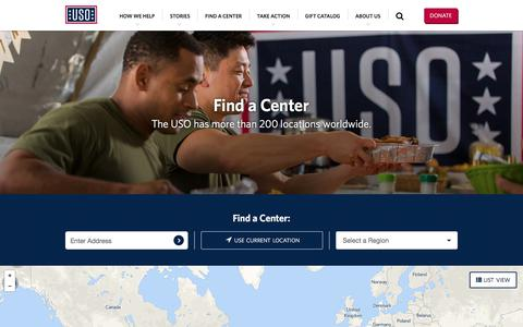 Screenshot of Locations Page uso.org - Find a Center · United Service Organizations - captured June 18, 2017