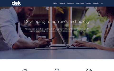 Screenshot of Home Page dektech.com.au - DEK Technologies | Developing Tomorrow's Technologies - captured Oct. 7, 2018