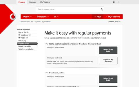 Payment forms for Direct debits and Automatic payments - Vodafone NZ