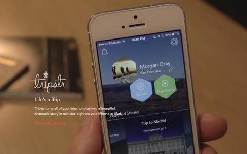 Screenshot of Home Page tripstr.com - Tripstr - Life's a Trip - captured Feb. 25, 2016