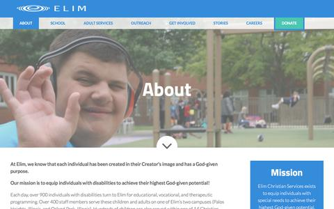 Screenshot of About Page elimcs.org - About : Elim Christian Services - captured July 29, 2017