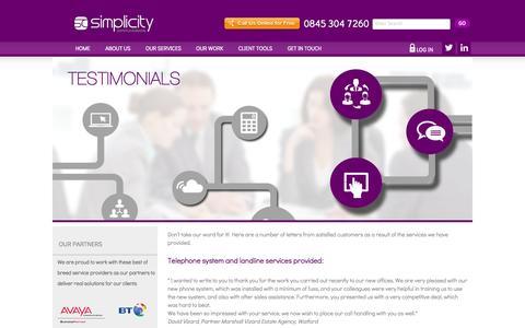 Screenshot of Testimonials Page simplicitygroup.co.uk - Testimonials - captured Oct. 26, 2014