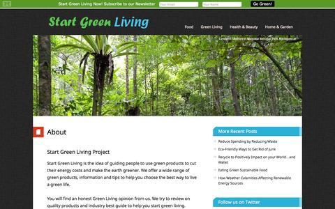 Screenshot of About Page startgreenliving.com - About – Start Green Living - captured Sept. 30, 2014