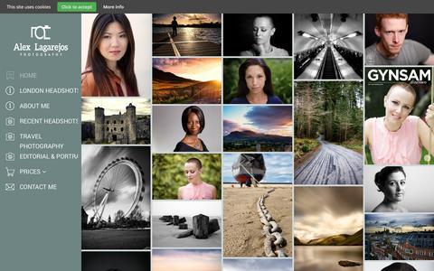 Screenshot of Home Page alexlagarejos.com - London Actors Headshots, editorial & corporate photographer - captured Sept. 22, 2014
