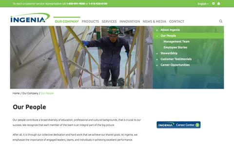 Screenshot of Team Page ingeniapolymers.com - Our People – - captured Aug. 5, 2016