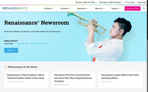 Screenshot of Press Page renaissance.com - Renaissance news and media - Edtech educational software - captured Jan. 4, 2018