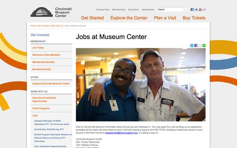 Screenshot of Jobs Page cincymuseum.org - Jobs at Museum Center | Cincinnati Museum Center - captured Sept. 25, 2014