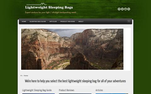 Screenshot of Home Page lightweight-sleeping-bags.com - Lightweight Sleeping Bags - Expert analysis for your light / ultralight backpacking needs - captured Sept. 30, 2014