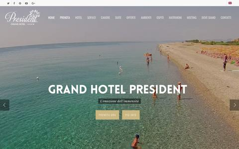 Screenshot of Home Page grandhotelpresident.com - Hotel villaggio 4 stelle in Calabria sul mare a Siderno - captured May 22, 2017