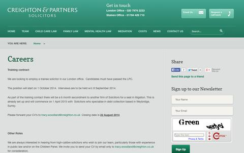 Screenshot of Jobs Page creighton.co.uk - Creighton & Partners | Careers | Training Contracts - captured Oct. 3, 2014
