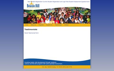 Screenshot of Testimonials Page beaconhillprep.org - Beacon Hill Prepatory Institute - captured Oct. 5, 2014
