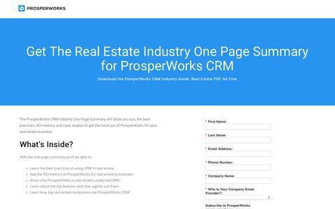 Screenshot of Landing Page prosperworks.com - Prosperworks | Real Estate Industry Guide - captured Feb. 16, 2017